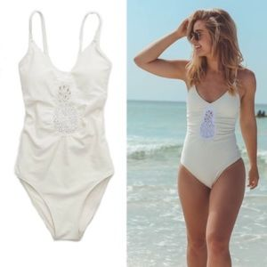 NEW Aerie White Pineapple One Piece Swimsuit S